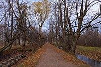 Озерковый парк. Слева видны трубы и переливная плотина Самсониевского водовода..jpg