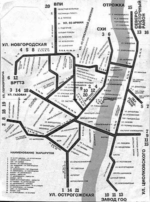 Трамвайные маршруты Воронежа в