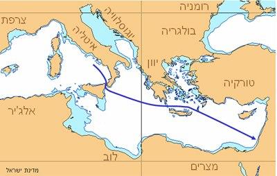 אוניית המעפילים מדינת ישראל - מסלול
