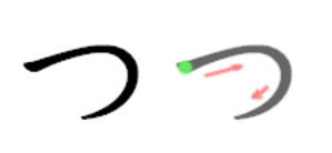 Tsu (kana) - Stroke order in writing つ