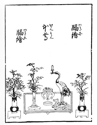Ikebana - A drawing of mitsu-gusoku, from the Senden-shō (15–18th century)
