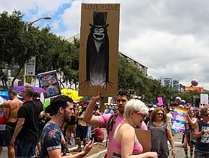"The Babadook - A group of LGBT people holding up ""The Babadook"" at the LGBT Resist March in Los Angeles, California."