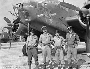 The crew of a No. 15 Squadron Beaufort with their aircraft in 1945