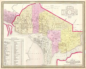 Constitution Avenue - 1850 map of Washington, D.C., showing the completed (and disused) Washington City Canal