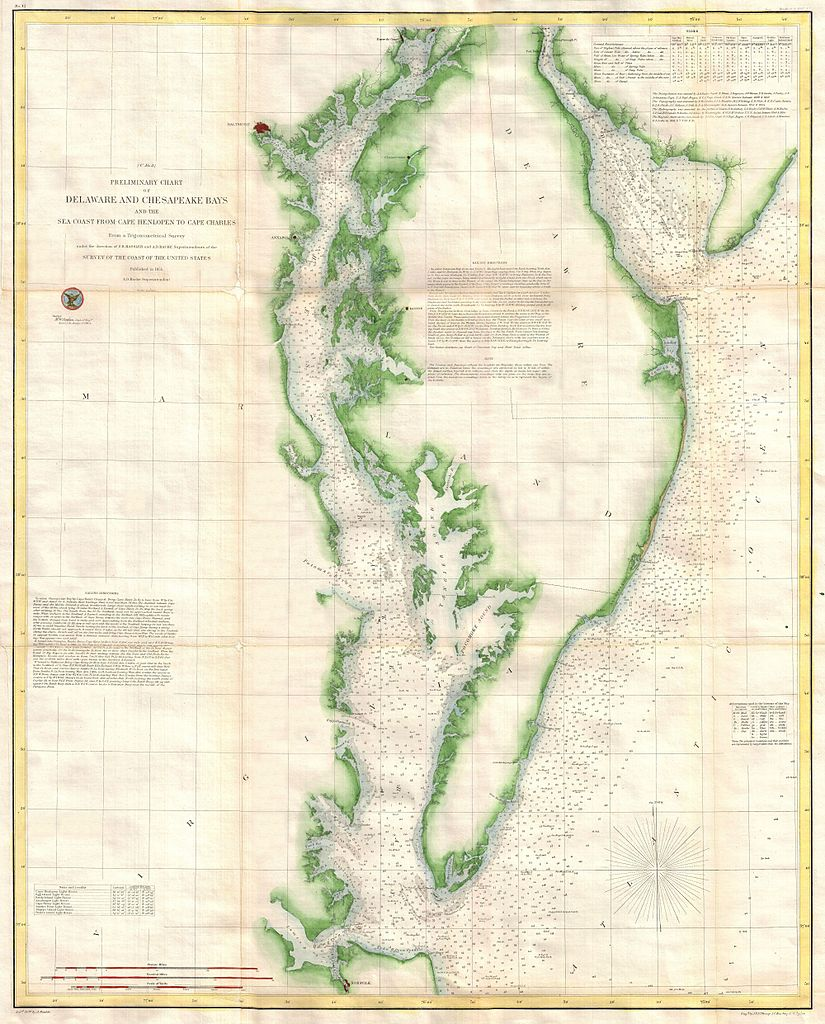 File US Coast Survey Chart Or Map Of Chesapeake Bay And - Us map with bays