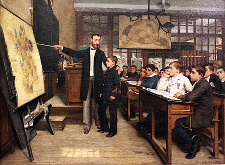 "Albert Bettannier's 1887 painting La Tache noire depicts a child being taught about the ""lost"" province of Alsace-Lorraine in the aftermath of the Franco-Prussian War - an example of how European schools were often used in order to inoculate Nationalism in their pupils. 1887 Bettannier Der Schwarze Fleck anagoria.jpg"
