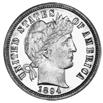 1894-S Barber dime - Image: 1894 S