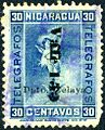 1900 30c Nicaragua telegraph stamp surcharged 15c 1905 with Zelaya overprint 1911.JPG