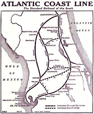 Atlantic Coast Line Railroad - 1914 map of the lines through Florida
