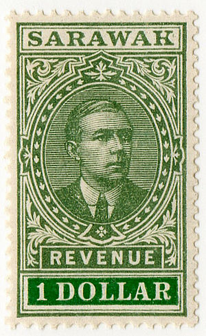 Revenue stamps of Sarawak - A $1 revenue stamp issued in 1918.