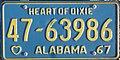 1967 Alabama passenger license plate.jpg