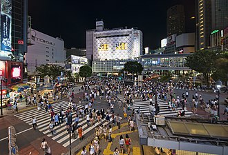 Pedestrian scramble - One of the world's most heavily used pedestrian scrambles, at Hachikō Square in Shibuya, Tokyo