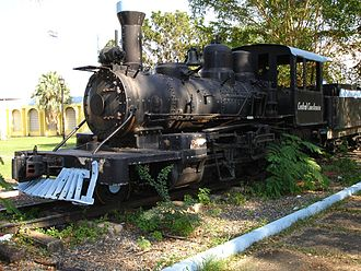 2-8-0 2 ft 6 in (762 mm) narrow-gauge on static display, Toa Baja, Puerto Rico. 2-8-0 Levittown by Sings-With-Spirits.JPG