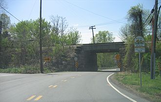 Maryland Route 28 - Intersection of MD 28 and Mt. Ephraim Road next to the underpass of CSX's Metropolitan Subdivision in Dickerson