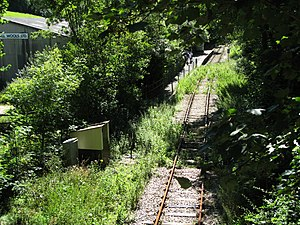 Coombe Junction Halt railway station - Coombe Junction Ground Frame No. 2 with the station in the distance