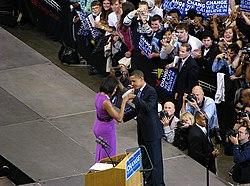 Barack and Michelle Obama share a fist bump, 3 June 2008