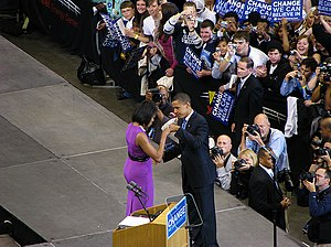 Maria Pinto (fashion designer) - Michelle and Barack Obama fist bump with Michelle in a dress by Pinto