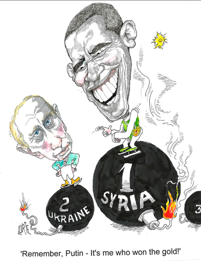 Political satire by Ranan Lurie 2014- 02 - Obama and Putin, by Ranan Lurie.png
