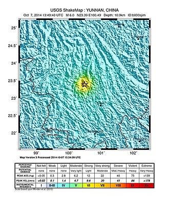 2014 Jinggu earthquake - Shake map of the earthquake in Jinggu, Yunnan, China on October 07, 2014