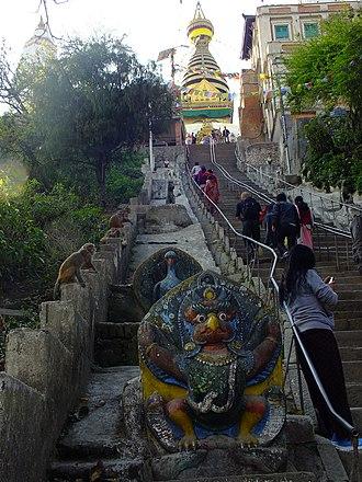 Swayambhunath - Image: 2015 03 08 Swayambhunath,Katman du,Nepal,சுயம்புநாதர ் கோயில்,スワヤンブナート DSCF4138