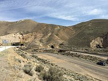 2015-04-19 14 50 38 The four western portals of the Carlin Tunnel in Elko County, Nevada.jpg