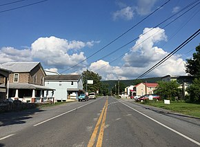 2016-06-25 17 50 47 View east along West Virginia State Route 9 (Central Avenue) at Station Street in Great Cacapon, Morgan County, West Virginia.jpg