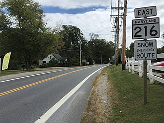 Maryland Route 216 - View east along MD 216 at MD 108 in Highland