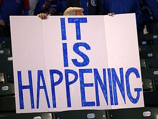 Cubs fan sign before Game 6 of the 2016 National League Championship Series