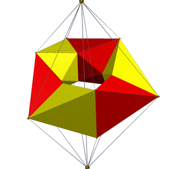 24-cell - An edge-center perspective projection, showing one of four rings of 6 octahedra around the equator