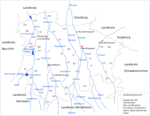 Krumbach, Swabia (district) - The former district of Krumbach – numbers in the map: see also the opposite list