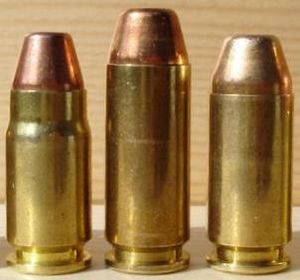 .357 SIG - Left to right: .357 SIG, 10mm Auto, .40 S&W