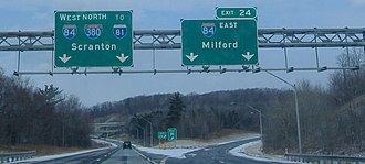 Interstate 380 (Pennsylvania) - Interstate 380 northbound merge with Interstate 84 in Roaring Brook Township, southeast of Scranton.