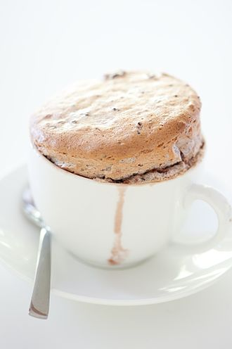 Soufflé - A berry soufflé served in a coffee cup