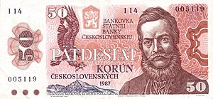 50 Czechoslovakan koruna 1985-1989 Issue Obverse