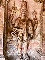 6th century Harihara (left half Shiva, right half Vishnu) in Cave 3, Badami Hindu cave temple Karnataka 2.jpg