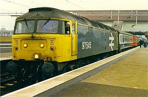 British Rail Class 97 - No.97545, formerly Class 47 No.47545, at Birmingham International station in 1989