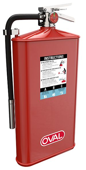 Fire extinguisher - A stored-pressure fire extinguisher made by Oval Brand Fire Products