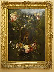 Heilige Familie im Blumenkranz