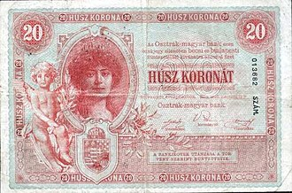 Banknotes of the Austro-Hungarian krone - Image: AHK 20 1900 reverse