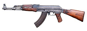 Assault rifle - Currently the most used assault rifle in the world along with its variant, the AKM, the AK-47 was first adopted in 1949 by the Soviet Army. It fires the 7.62×39mm M43 round.