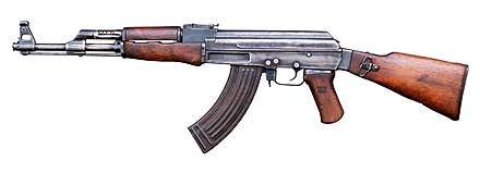 Currently the most used assault rifle in the world along with its variant, the AKM, the AK-47 was first adopted in 1949 by the Soviet Army. It fires the 7.62x39mm M43 round. AK-47 type II Part DM-ST-89-01131.jpg