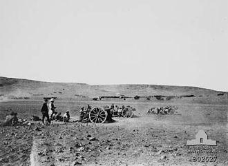 Battle of Tel el Khuweilfe - Guns of the Inverness Royal Horse Artillery in action against Tel el Khuweilfe on 2 November