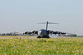 A U.S. Air Force C-17 Globemaster III aircraft assigned to the Mississippi Air National Guard lands at Mirgorod Air Base, Ukraine, July 16, 2011, to deliver equipment and personnel taking part in Safe Skies 110716-F-VM449-134.jpg