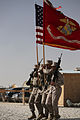 A U.S. Marine Corps color guard parades the colors during a transfer of authority ceremony March 24, 2010, at Camp Leatherneck, Afghanistan 100324-M-QO203-002.jpg