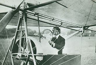 Aurel Vlaicu - Aurel Vlaicu at the controls of A Vlaicu II airplane