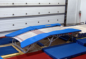 Trampolining - Double Mini-trampoline in a training gym
