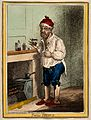 A man standing by a fire place, pulling a peculiar face afte Wellcome V0011203.jpg
