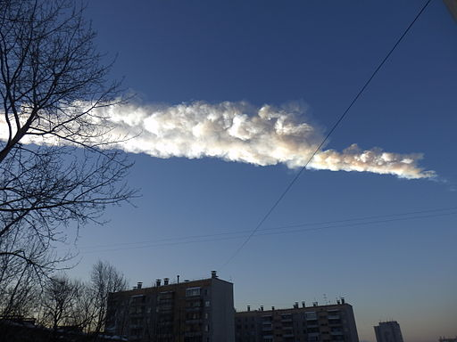 A trace of the meteorite in Chelyabinsk