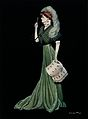 A woman wearing a fashionable gown and a hat with feathers i Wellcome V0040611.jpg
