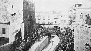 Mandatory Palestine - The formal transfer of Jerusalem to British rule.  A native priest reads the proclamation from the steps of the Tower of David.